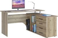 Компьютерный стол Сокол-Мебель КСТ-109 с тумбой (правый, дуб делано) -