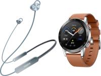 Наушники-гарнитура Honor Sport Pro AM66-L + Умные часы Magic Watch 2 (серый, коричневый) -