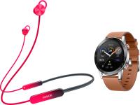 Наушники-гарнитура Honor Sport Pro AM66-L + Умные часы Magic Watch 2 (красный, коричневый) -