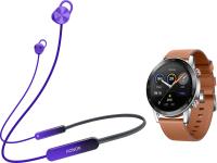Наушники-гарнитура Honor Sport Pro AM66-L + Умные часы Magic Watch 2 (фиолетовый, коричневый) -