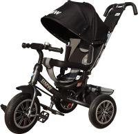 Детский велосипед с ручкой BMW Trike 3 колеса / BMW-N1210-Black (черный) -