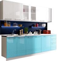 Готовая кухня Ricco Кристалл 2.0 (белый/бонди металлик) -