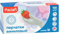 Перчатки одноразовые Paclan Виниловые (М, 100шт) -