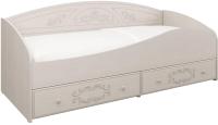 Кровать-тахта Олмеко Каролина 80x200 (вудлайн кремовый/сандал белый) -