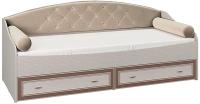Кровать-тахта Олмеко Тони 4 80x200 (вудлайн кремовый/аруша венге с кожей коричневый) -