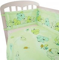 Комплект в кроватку Polini Kids Мишки 3 (120x60, зеленый) -