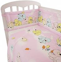 Комплект в кроватку Polini Kids Мишки 3 (120x60, розовый) -