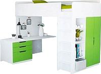 Кровать-чердак Polini Kids Simple с письменным столом и шкафом (белый/лайм) -