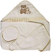 Полотенце с капюшоном Polini Kids Плюшевые мишки c вышивкой (бежевый) -