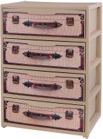 Комод пластиковый Эльфпласт Elegance с рисунком (чемоданы) -
