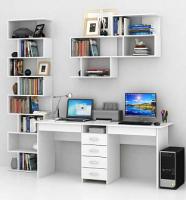 Комплект мебели для кабинета MFMaster Тандем УШ-2Я-04 / Тандем-2Я-04-БТ-16 (белый) -