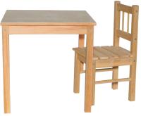 Комплект мебели с детским столом ВудГрупп 50x50x50 и 1 стульчиком (без отделки) -