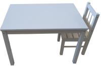 Комплект мебели с детским столом ВудГрупп 75x50x50 и 1 стульчиком (белый) -