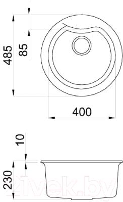 Мойка кухонная Elleci Ego Round Ghisa M70 / LMEROU70