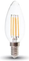 Лампа V-TAC 6 ВТ 600LM E14 2700K SKU-7423 (свеча, прозрачное стекло) -