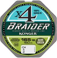 Леска плетеная Konger Braider X4 Olive Green 0.04мм 150м / 250146004 -