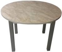 Обеденный стол Solt Круглый раздвижной (мрамор бежевый/ноги квадратные серые) -
