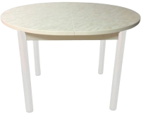 Обеденный стол Solt Круглый раздвижной (мрамор белый/ноги круглые белые) -
