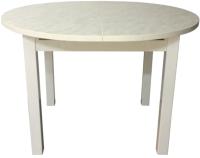 Обеденный стол Solt Круглый раздвижной (мрамор белый/ноги квадратные белые) -