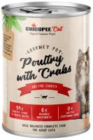 Корм для кошек Chicopee Adul домашняя птица с крабами / H50812 (400г) -