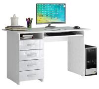 Компьютерный стол MFMaster Милан-3 / МСТ-СДМ-03-ББ-ГЛ (белый/белый) -