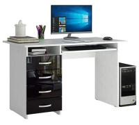 Компьютерный стол MFMaster Милан-3 / МСТ-СДМ-03-БЧ-ГЛ (белый/черный) -