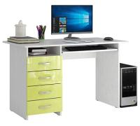 Компьютерный стол MFMaster Милан-3 / МСТ-СДМ-03-БЛ-ГЛ (белый/лайм) -