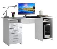 Компьютерный стол MFMaster Милан-6 Глянец / МСТ-СДМ-06-ББ-ГЛ (белый/белый) -