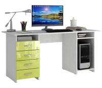 Компьютерный стол MFMaster Милан-6 / МСТ-СДМ-06-БЛ-ГЛ (белый/лайм) -