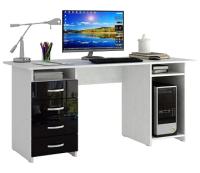 Компьютерный стол MFMaster Милан-6 / МСТ-СДМ-06-БЧ-ГЛ (белый/черный) -
