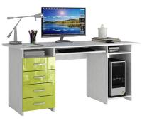 Компьютерный стол MFMaster Милан-6П / МСТ-СДМ-6П-БЛ-ГЛ (белый/лайм) -