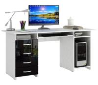Компьютерный стол MFMaster Милан-6П / МСТ-СДМ-6П-БЧ-ГЛ (белый/черный) -