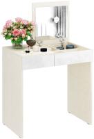Туалетный столик с зеркалом MFMaster Риано-01 / МСТ-ТСР-01-МБ-ГЛ (дуб молочный/белый) -