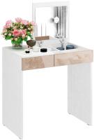 Туалетный столик с зеркалом MFMaster Риано-01 / МСТ-ТСР-01-БА-ГЛ (белый/капучино) -