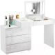 Туалетный столик с зеркалом MFMaster Нуар-6 / МСТ-ТСН-06-ББ-ГЛ (белый/белый) -