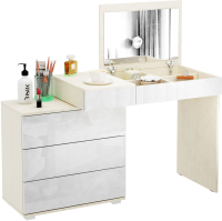 Туалетный столик с зеркалом MFMaster Нуар-6 / МСТ-ТСН-06-МБ-ГЛ (дуб молочный/белый) -