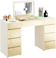 Туалетный столик с зеркалом MFMaster Триверо-2 / МСТ-ТСТ-02-МЖ-ГЛ (дуб молочный/бежевый) -