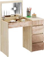 Туалетный столик с зеркалом MFMaster Триверо-1 / МСТ-ТСТ-01-СК-ГЛ (дуб сонома/капучино) -
