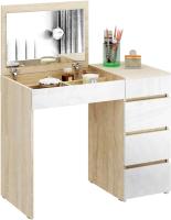 Туалетный столик с зеркалом MFMaster Триверо-1 / МСТ-ТСТ-01-СБ-ГЛ (дуб сонома/белый) -