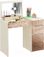 Туалетный столик с зеркалом MFMaster Триверо-1 / МСТ-ТСТ-01-МК-ГЛ (дуб молочный/капучино) -