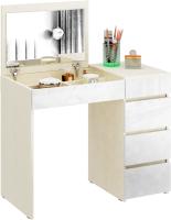 Туалетный столик с зеркалом MFMaster Триверо-1 / МСТ-ТСТ-01-МБ-ГЛ (дуб молочный/белый) -