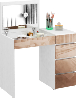 Туалетный столик с зеркалом MFMaster Триверо-1 / МСТ-ТСТ-01-БА-ГЛ (белый/капучино) -