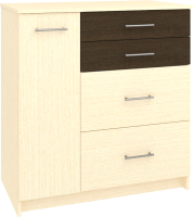 Комод Кортекс мебель Модерн 90-1д4ш (венге светлый/венге) -