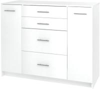 Комод Кортекс-мебель  Модерн 120-2д4ш (белый) -