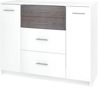 Комод Кортекс-мебель Модерн 120-2д4ш (белый/береза) -