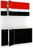 Готовая кухня Кортекс мебель Корнелия Экстра 1.5м (красный/черный/мадрид) -