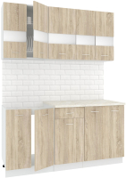 Готовая кухня Кортекс мебель Корнелия Экстра 1.6м (дуб сонома/королевский опал) -