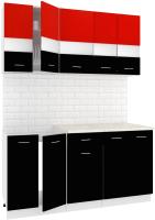 Готовая кухня Кортекс мебель Корнелия Экстра 1.6м (красный/черный/мадрид) -