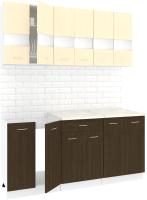 Готовая кухня Кортекс мебель Корнелия Экстра 1.7м (венге светлый/венге/королевский опал) -