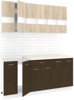 Готовая кухня Кортекс мебель Корнелия Экстра 1.8м (дуб сонома/венге/королевский опал) -
